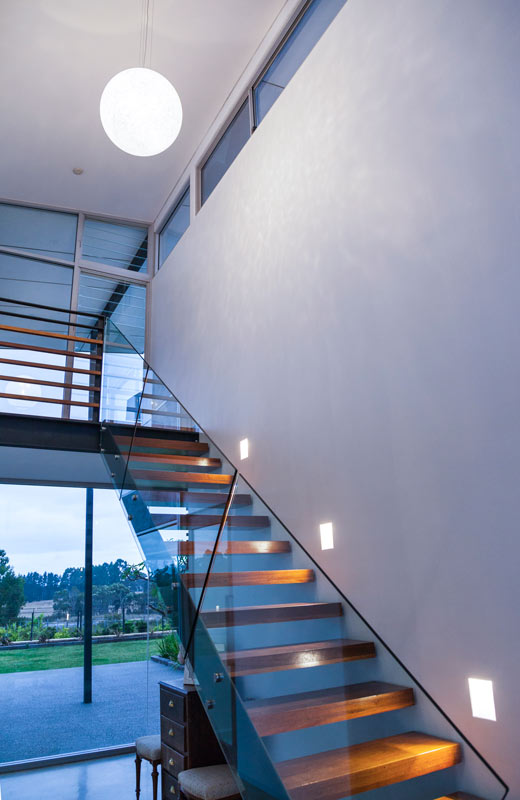 Contemporary Eco House entry staircase for home in Yallingup by architect, Threadgold Architecture, Perth and Busselton.
